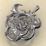 Оберег Солнечный дракон серебро