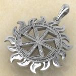 Коловрат Славянский оберег в солнечном круге из серебра