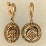 Серьги Лунница с Макошью из красного золота