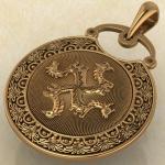 Подвеска Коловрат с изображением коня, быка, грифона и птицы красное золото