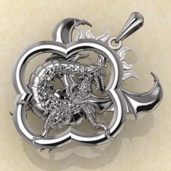Кулон Солнечный дракон серебро