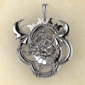 Подвеска Солнечный дракон серебро
