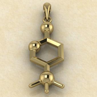 Нейромедиатор Ацетилхолин золото подвеска