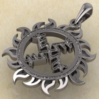 Денежная свастика оберег из серебра