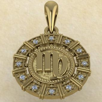Подвеска Дева золото с бриллиантами