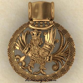 Славянский оберег Птица Гамаюн желтое золото