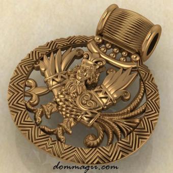 Птица Гамаюн красное золото