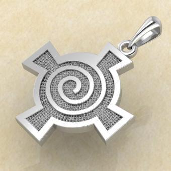 Амулет Кельтский крест со спиралью из серебра