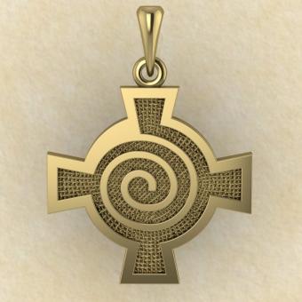 Амулет Кельтский крест со спиралью желтое золото