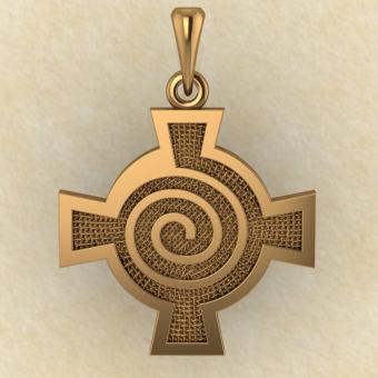 Амулет Кельтский крест со спиралью красное золото