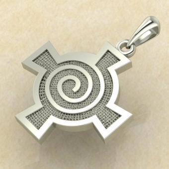 Амулет Кельтский крест со спиралью белое золото