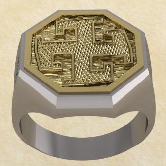Славянское кольцо-оберег Богодар серебро с золото
