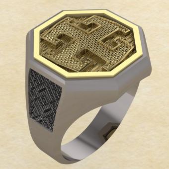 Кольцо-оберег Богодар серебро с золотом