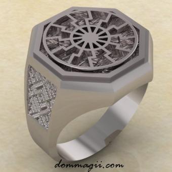 Перстень Черное солнце из серебра