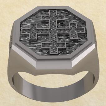 Славянское кольцо-оберег Двенадцатиконечный крест из серебра
