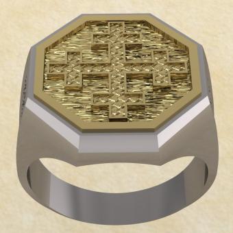 Славянское кольцо-оберег Двенадцатиконечный крест серебро с золотом