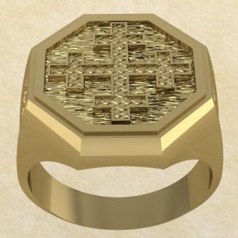 Славянское кольцо-оберег Двенадцатиконечный крест золото