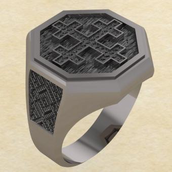 Кольцо-оберег Двенадцатиконечный крест серебро