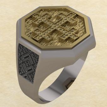 Кольцо-оберег Двенадцатиконечный крест серебро с золотом