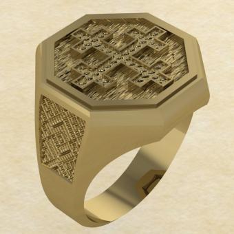 Кольцо-оберег Двенадцатиконечный крест золото