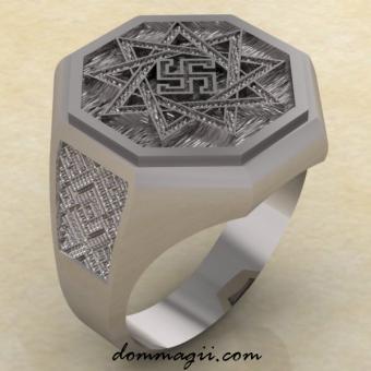 Славянское кольцо с символом Обережник из серебра