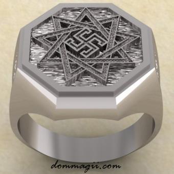Славянское кольцо Обережник из серебра