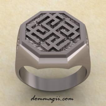 Кольцо со славянским оберегом Родимич из серебра