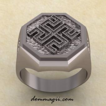 Кольцо со славянским оберегом Родовик из серебра