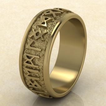 Кольцо Круг Одина с рунами из желтого золота