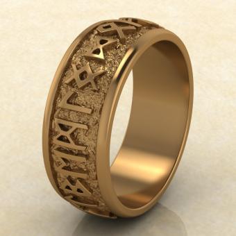 Кольцо Круг Одина с рунами из красного золота