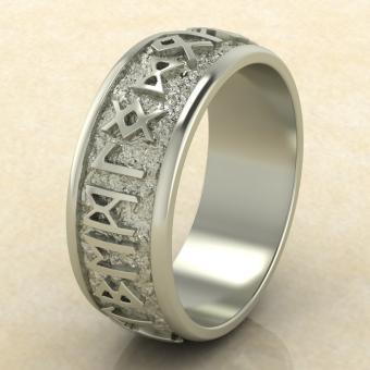 Кольцо Круг Одина с рунами из белого золота
