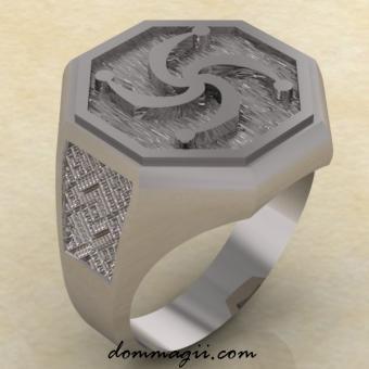 Кольцо Славянское с символом Рода из серебра