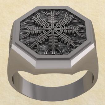 Кольцо-оберег Шлем Ужаса серебро