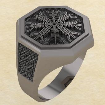 Кольцо-оберег Шлем Ужаса из серебра