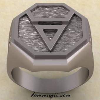 Славянское кольцо с символом Велеса из серебра