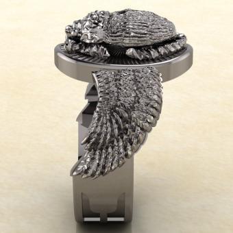 Кольцо с амулетом жук скарабей