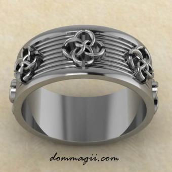 Кольцо Свадебник «Нити притяжения». Из серебра