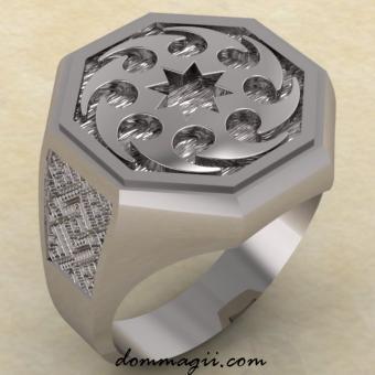 Перстень с Солнцеворотом из серебра