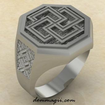 Перстень с Солярным крестом из серебра