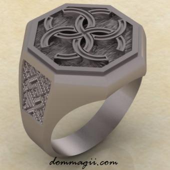 Кольцо - перстень с Славянским оберегом Свадебник из серебра