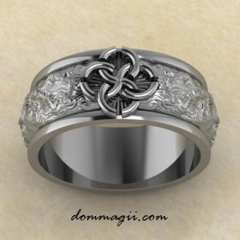 Славянское кольцо со свадебником Гармония из серебра