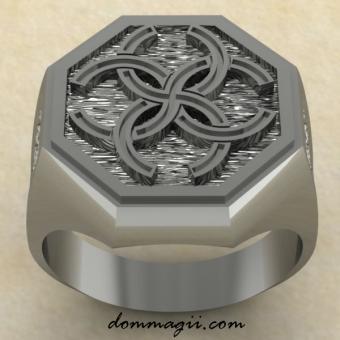 Перстень с Славянским оберегом Свадебник из серебра