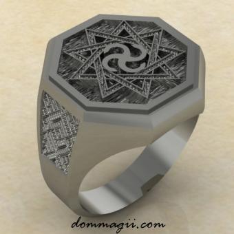 Славянское кольцо Сваор в Инглии из серебра