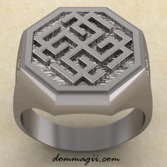 Кольцо со сварожичем серебро