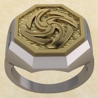 Славянское кольцо-оберег Вайга из серебра с золотом