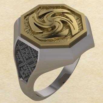 Кольцо-оберег Вайга серебро с золотом