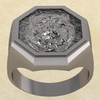 Славянское Кольцо Велеса с медведем из серебра