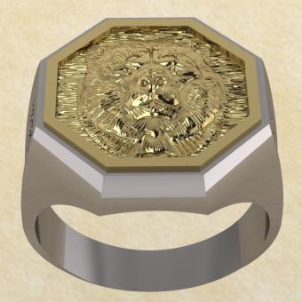 Славянское Кольцо Велеса с медведем из серебра с золотом