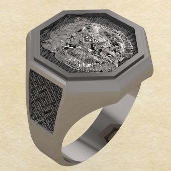Кольцо Велеса с медведем серебро