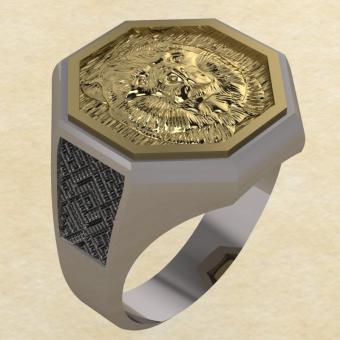 Кольцо Велеса с медведем серебро с золотом